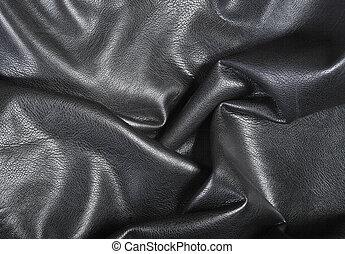 cuero, pliegues, fondo negro