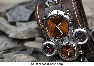 cuero, pulsera, varios, diales, relojes