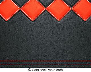 cuero, rojo, puntada, plano de fondo, rhombuses