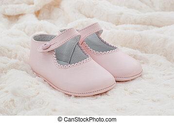 cuero, rosa, shoes, bebé