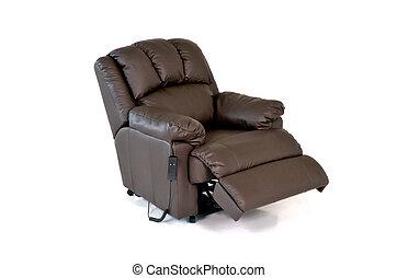 cuero, silla marrón, descanso