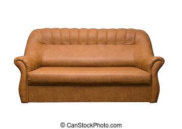 cuero, sofá marrón