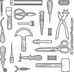 cuero, vector, herramientas, trabajando, ilustración