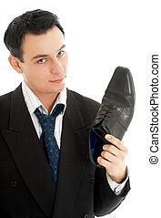 cuero, vendedor, bota, negro