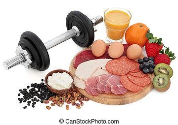 cuerpo, alimento, edificio, salud