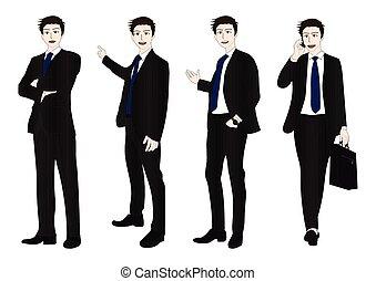 cuerpo, apariencia llena, hombre de negocios