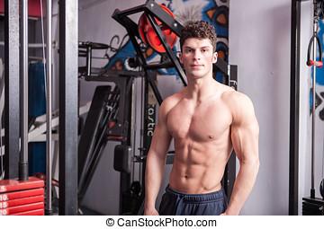 cuerpo, atlético, gimnasio, hombre