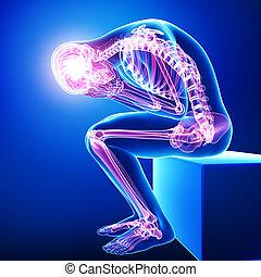 cuerpo, azul, lleno, dolor, anatomía