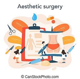 cuerpo, correction., idea, liposucción, concept., implante, cirujano plástico