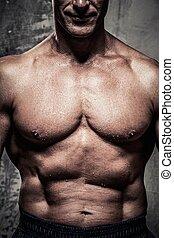 cuerpo, cuarentón, muscular, hombre