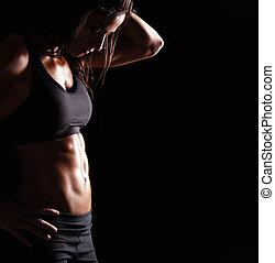 cuerpo de mujer, con, ataque, vientre
