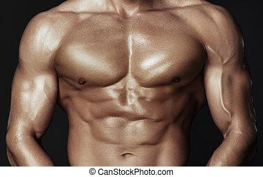 cuerpo, de, muscular, hombre