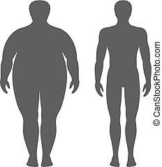cuerpo, deporte, loss., peso, exitoso, concept., después, grasa, ilustración, silhouette., vector, boys., dieta, antes, macho, delgado, hombre