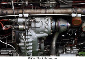 cuerpo, diferente, motor, mecanismos, avión