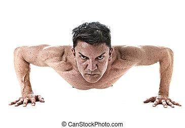 cuerpo, entrenamiento, viejo, ataque, entrenamiento, 45, arriba, 40, años, muscular, condición física, empujón, fuerte, rutina, hombre