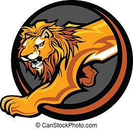 cuerpo, león, gráfico, vector, mascota