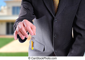 cuerpo, llaves, comercial, agente, mano, mitad