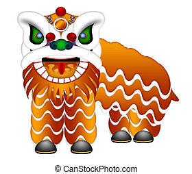 cuerpo, lleno, chino, baile, ilustración, león