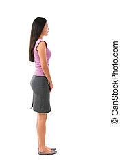 cuerpo, lleno, hembra asiática, vista lateral