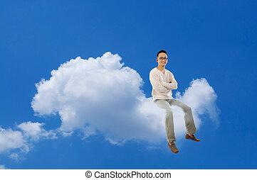 cuerpo lleno, hombre asiático, sentado, nube