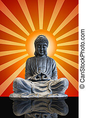 cuerpo, lleno, sentado, rayos sol, buddha, bronce