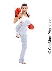 cuerpo, Lleno, tiro, Boxeador, hembra, patada