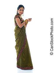 cuerpo, lleno, tradicional, lámpara, indio, hembra, ropa