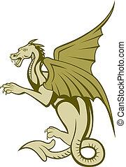 cuerpo, lleno, verde, caricatura, dragón