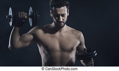 cuerpo masculino, constructor, cálculo, con, dumbbells