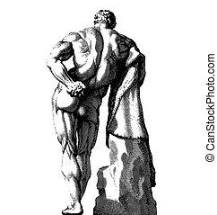 cuerpo masculino, espalda, grabado