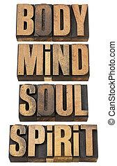 cuerpo, mente, soull, madera, tipo, espíritu