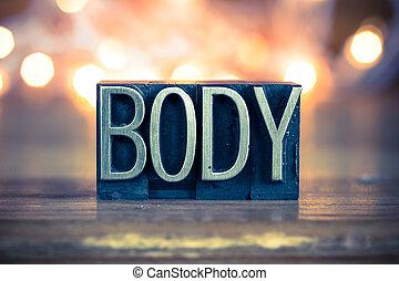 cuerpo,  metal, concepto, tipo, texto impreso