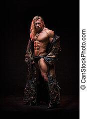 cuerpo, monstruo, vestido, muscular, disfraz, sexy, hombre fuerte
