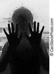 cuerpo, mujer, horror, foco, mano, vidrio, atrás, mate,...
