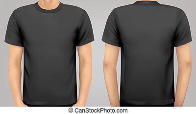 cuerpo, on., camisa, negro, vector., macho
