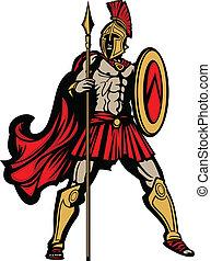 cuerpo, protector, lanza, spartan, ilustración, vector, ...
