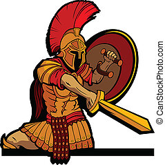 cuerpo, protector, spartan, ilustración, vector, espada, mascota