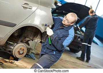 cuerpo, reparación, coche, metal, aplanar, automóvil, hombre