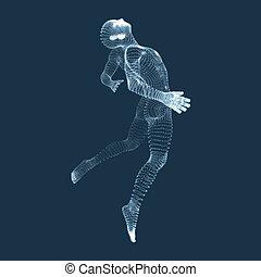 cuerpo, saltar, model., humano, modelo, man., 3d