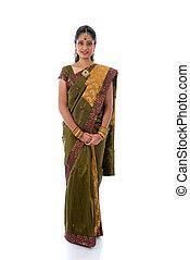 cuerpo, saree, mujer, lleno, tradicional, indio, plano de fondo, blanco