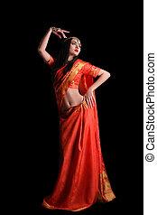 cuerpo, sari, indio, tradicional, fondo., lleno, niña negra, rojo
