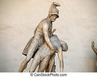 cuerpo, secundario, escultura antigua, patroclus, patroclus...