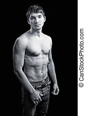 cuerpo, sexy, shirtless, tipo, masculino