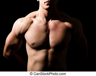 cuerpo, shirtless, muscular, oscuridad, sexy, hombre
