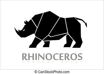 cuerpo, sideview, lleno, rinoceronte, rinoceronte, bestia