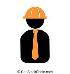 cuerpo, silueta, pictogram, trabajador, mitad, hombre