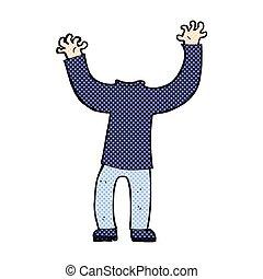 cuerpo, sin cabeza, cómico, caricatura