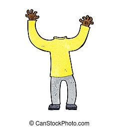 cuerpo, sin cabeza, caricatura