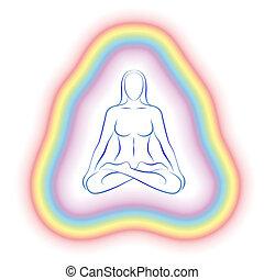 cuerpo, sutil, meditación, mujer, aura