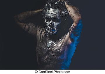 cuerpo,  tribal, cara, salvaje, Pintura, desnudo, hombre